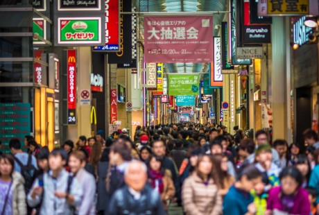 Crowded Shinsaibashi shopping street in Osaka, Japan, Faces defocused